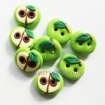 Green Apple - polymer clay buttons ..