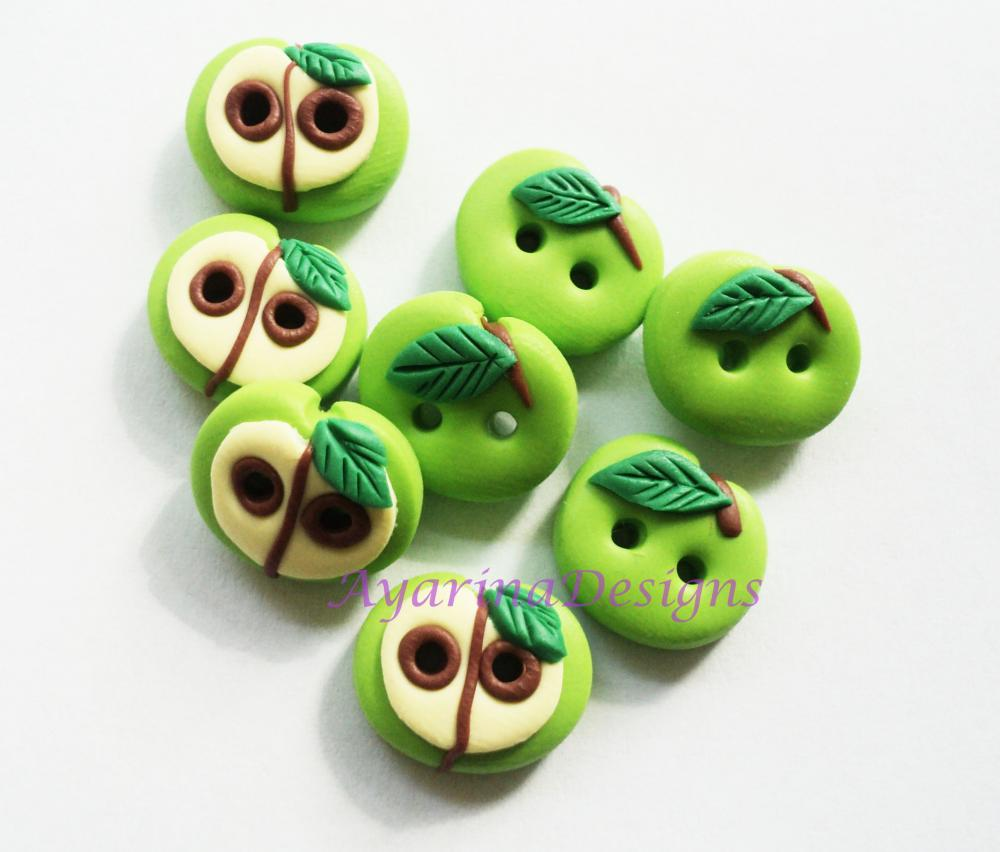 Green Apple - polymer clay buttons ( set of 8)