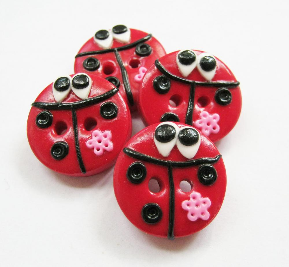 Lady bugs - set of 4 polymer clay handmade buttons